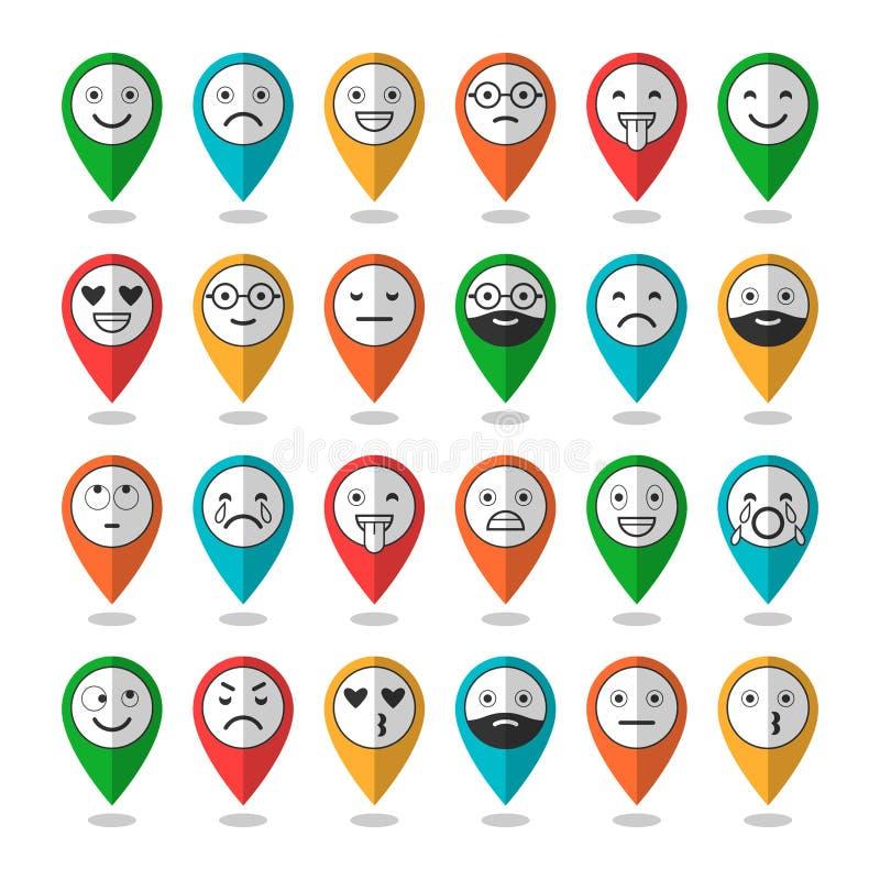 Barwione płaskie ikony emoticons Ono uśmiecha się z brodą, różne emocje, nastroje wektor royalty ilustracja