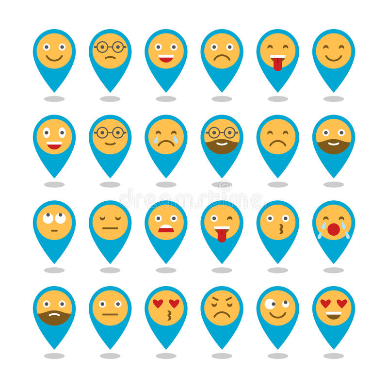 Barwione płaskie ikony emoticons Ono uśmiecha się z brodą, różne emocje, nastroje wektor ilustracji