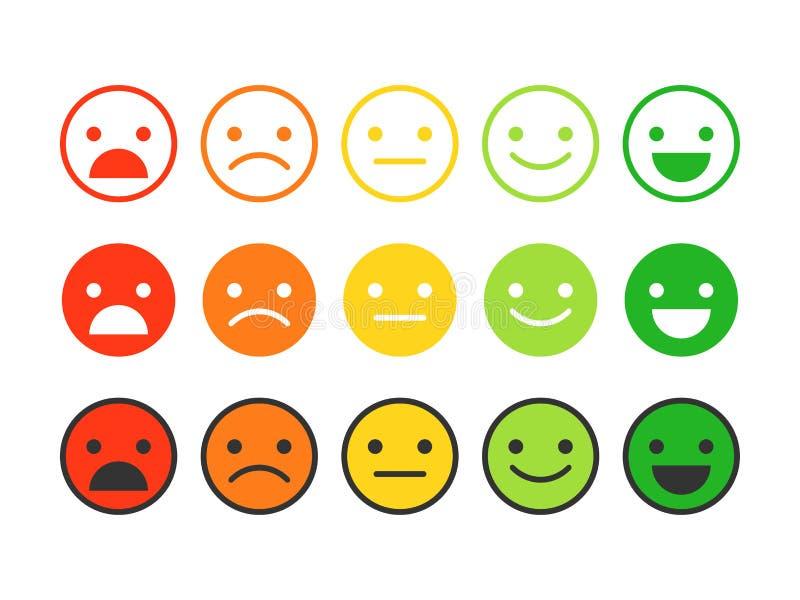 Barwione płaskie ikony emoticons Różne emocje, nastroje royalty ilustracja
