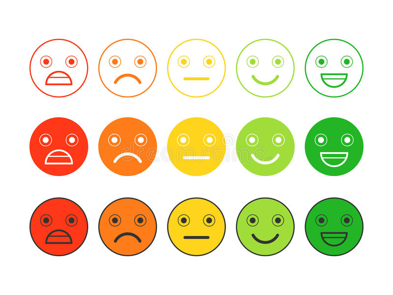 Barwione płaskie ikony emoticons Różne emocje, nastroje ilustracji