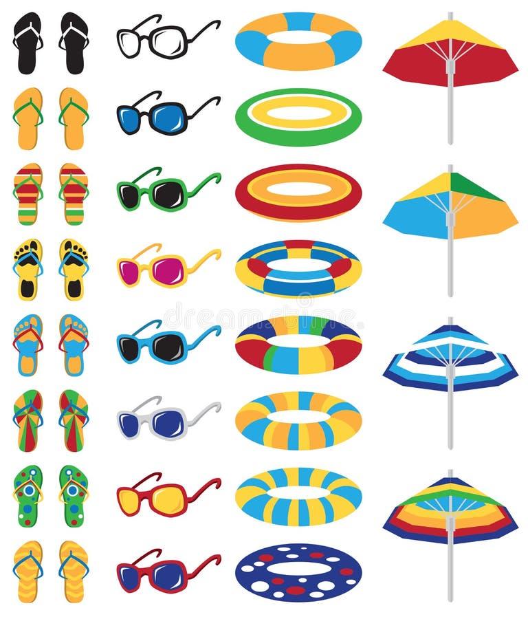 Barwione plażowe ikony ilustracja wektor