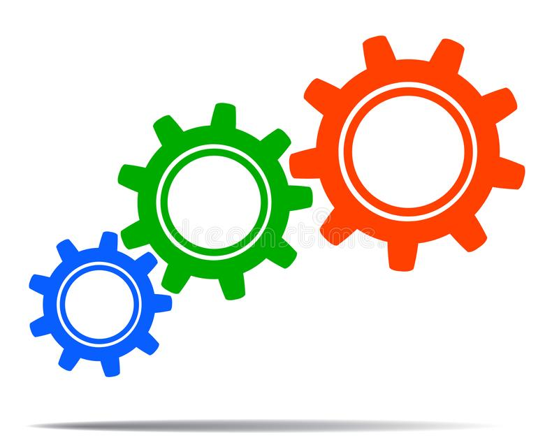 Barwione przekładnie, pojęcie praca zespołowa, personel, partnerstwo - wektor ilustracja wektor