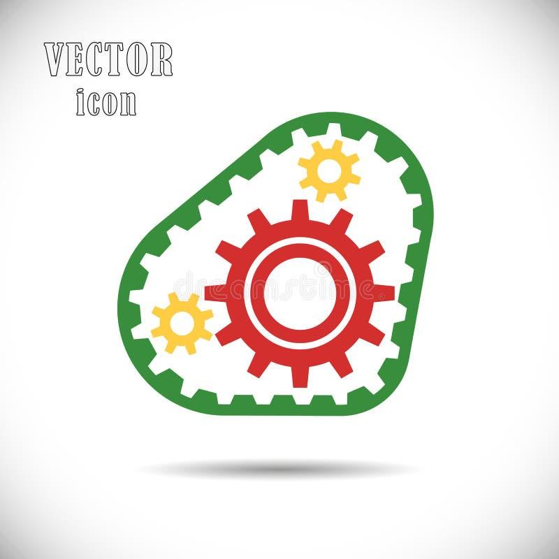 Barwione przekładnie z synchronizuje paskiem, ikona Pojęcie operacja silnika lub prowadnikowego łańcuchu mechanizmy wektor ilustracja wektor