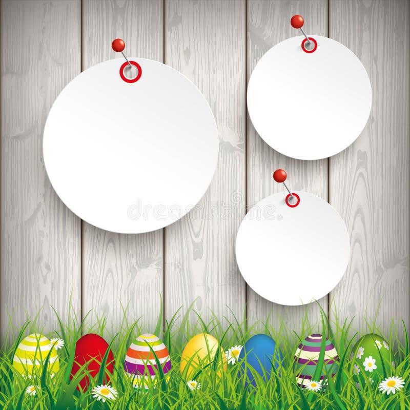 Barwione Wielkanocnych jajek trawy 3 okręgu majcherów szpilki royalty ilustracja
