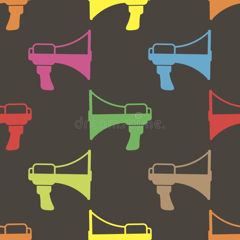 Barwionego megafonu bezszwowy wzór, wektor ilustracji