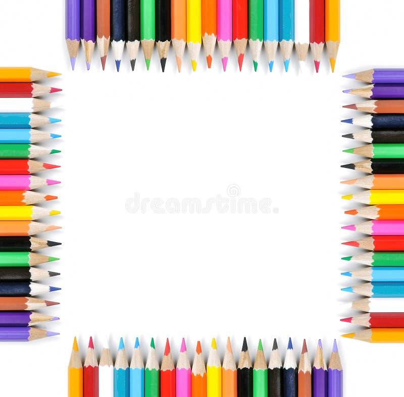 barwionej ramy odosobneni ołówki biały zdjęcia stock