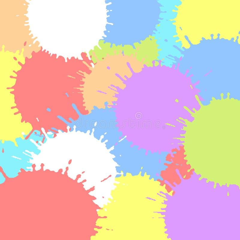 Barwioni atramentów kleksy Kolorowej tekstury wektorowa ilustracja farb pluśnięcia Stubarwni pluśnięcie elementy ilustracja wektor