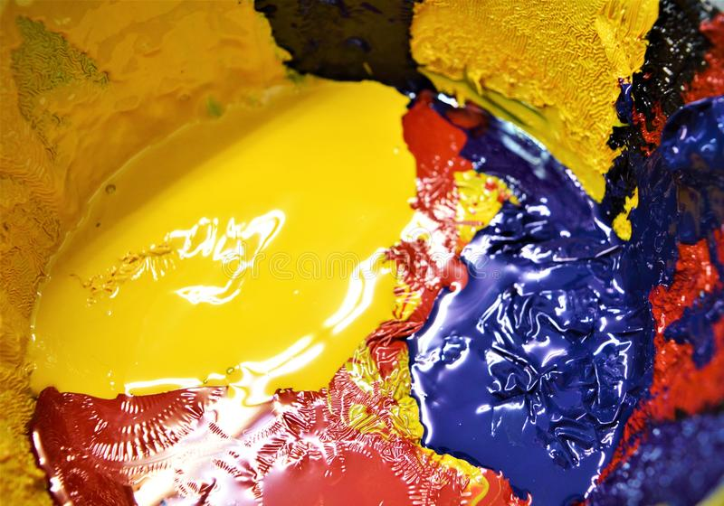 Barwioni atramenty dla drukowej pracy, zakończenie zdjęcia royalty free