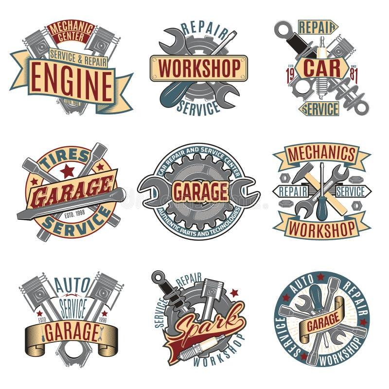Barwioni Auto Remontowej usługa logotypy Ustawiający royalty ilustracja
