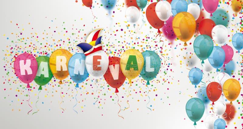Barwioni balony I confetti chodnikowiec Karneval royalty ilustracja