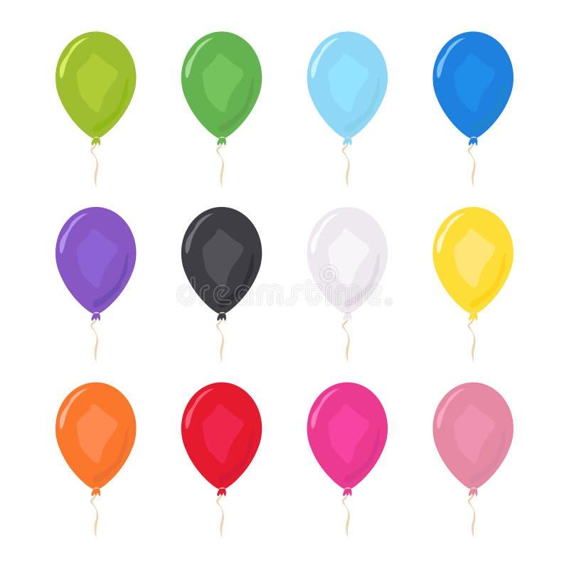 Barwioni balony ustawiający Przyjęcie urodzinowe dekoracji projekta wektor ilustracja wektor