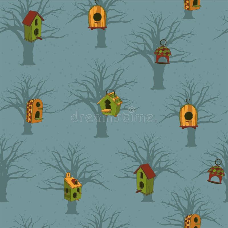 Barwioni birdhouses z drzewami na błękitnym tle royalty ilustracja