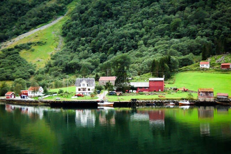 Barwioni drewniani domy w Norway odbija na wodzie zdjęcie royalty free