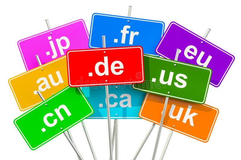 Barwioni drogowi znaki z kraju kodu najwyższej rangi nazwami domeny, 3D ilustracja wektor