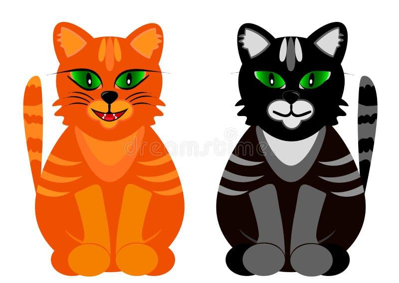 Barwioni koty z zielonymi oczami również zwrócić corel ilustracji wektora royalty ilustracja