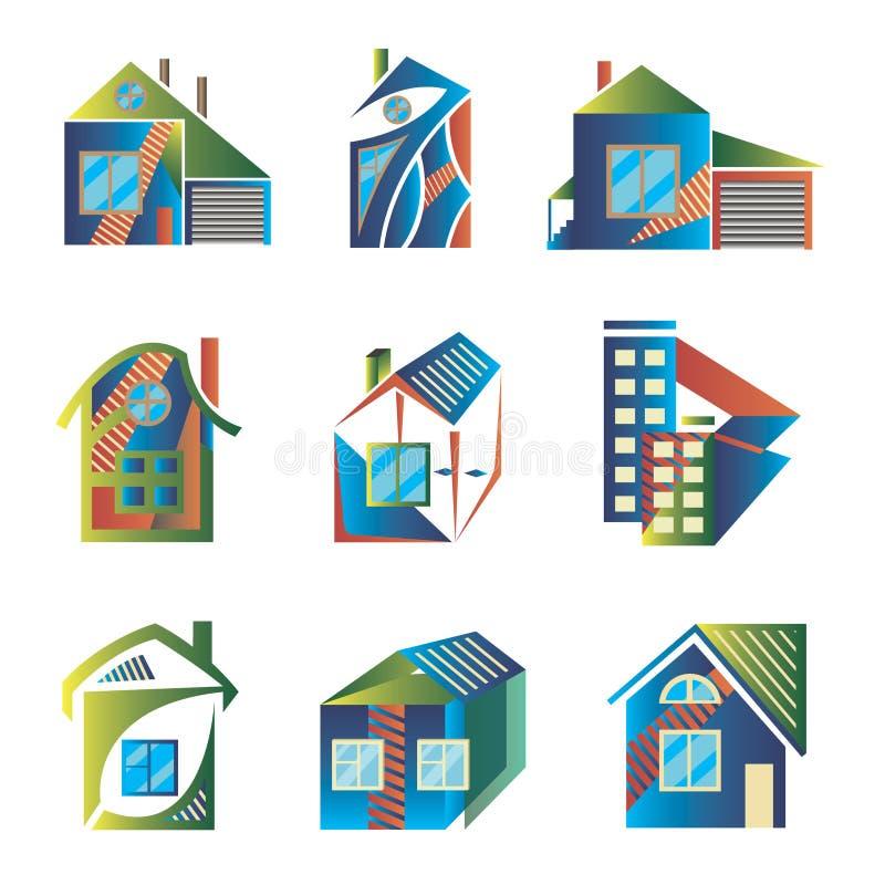 Barwioni logowie w postaci domów zdjęcie royalty free