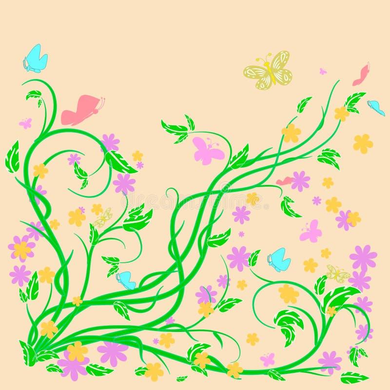 Barwioni motyle i kwiaty z abstrakcjonistycznymi zawijasami ilustracja wektor