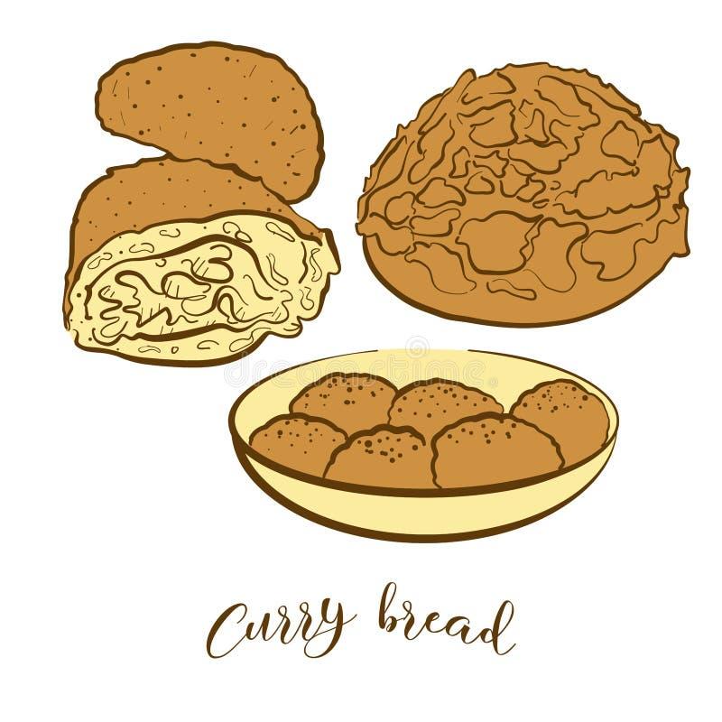 Barwioni nakreślenia curry'ego chleba chleb ilustracja wektor