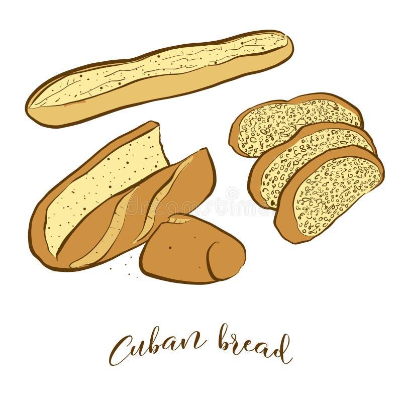 Barwioni nakreślenia Kubański chlebowy chleb royalty ilustracja