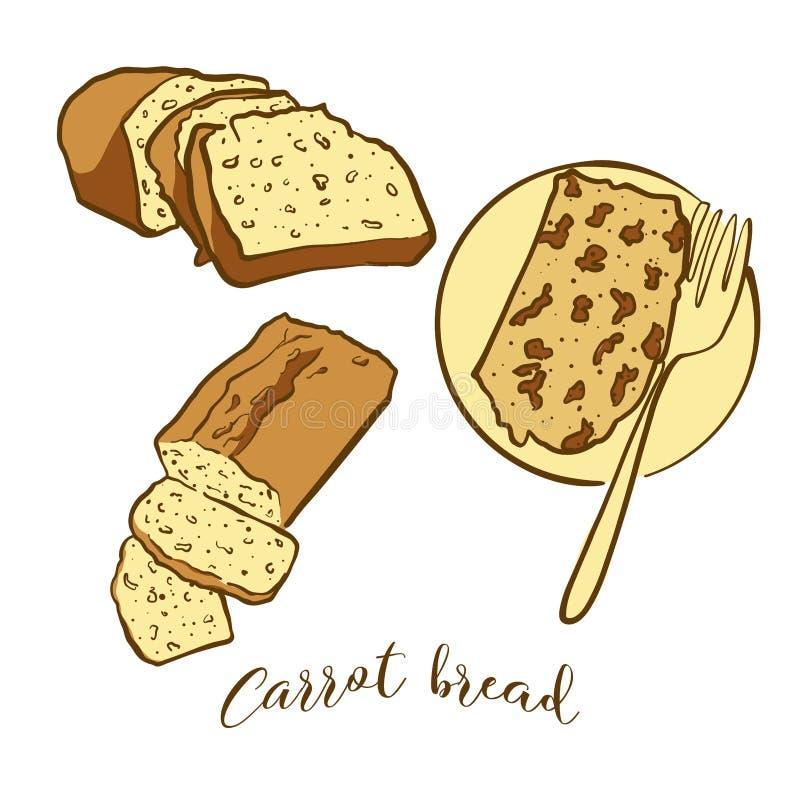 Barwioni nakreślenia Marchwiany chlebowy chleb royalty ilustracja