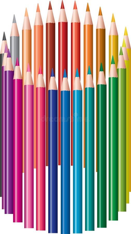 barwioni ołówki royalty ilustracja
