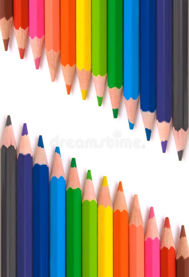 Barwioni ołówki dla szkoły zdjęcia royalty free