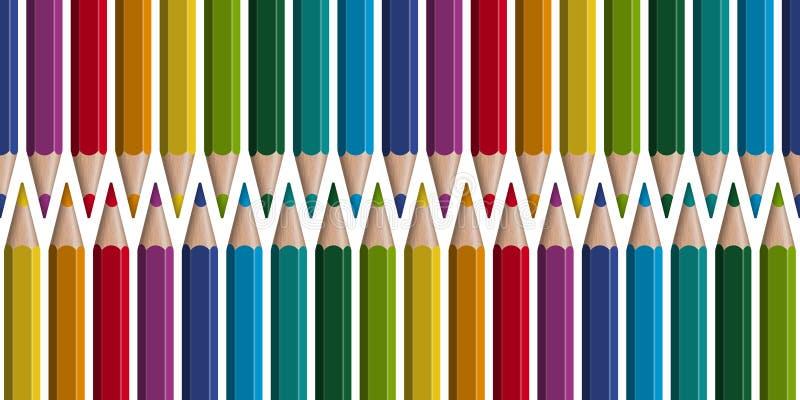 barwioni ołówki w rzędzie - bezszwowym ilustracja wektor