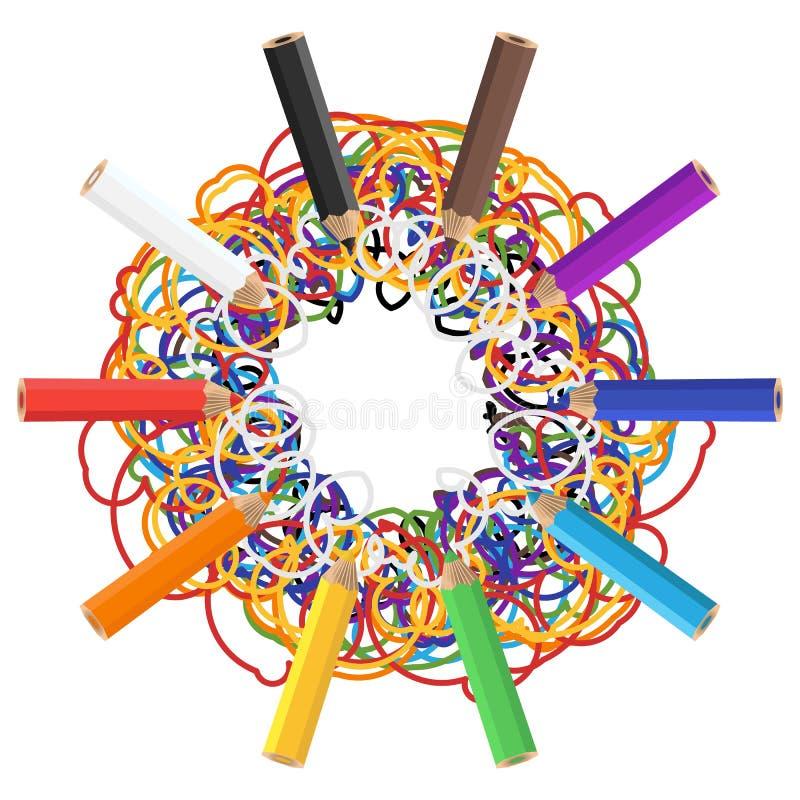 Barwioni ołówki z kolorowymi skrobaninami odizolowywać na białym tle royalty ilustracja