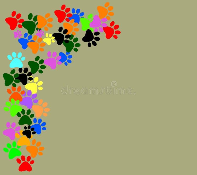 Barwioni pawprints na szarym beżowym tle ilustracji