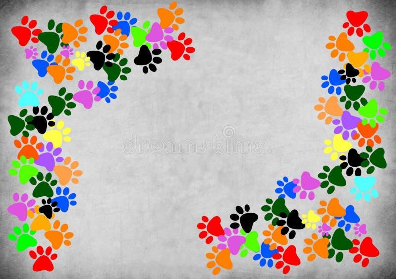 Barwioni pawprints na szarym grunge tle ilustracji