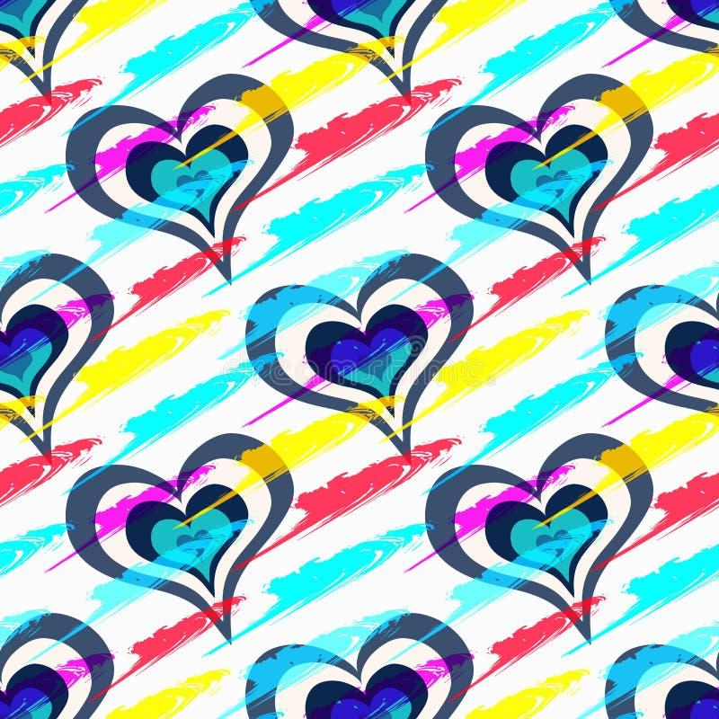 Barwioni piękni serca w dzień świętego valentine bezszwowego wzoru ilustracji