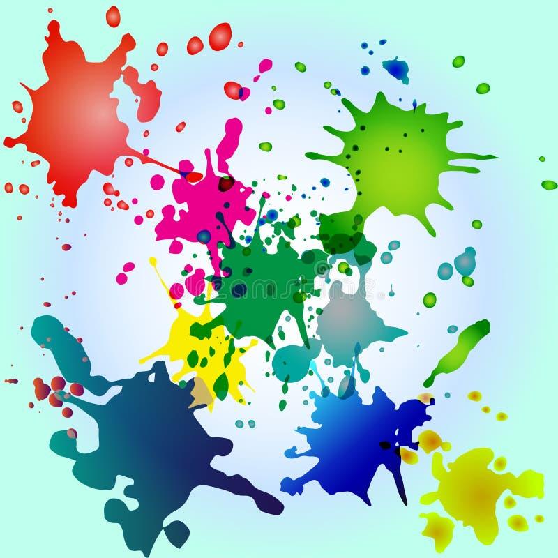 Barwioni pluśnięcia na błękitnym tle zdjęcie royalty free