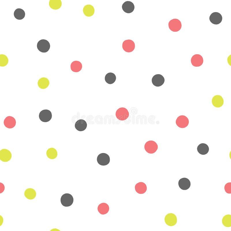 Barwioni round punkty Rozrzucona polki kropka rysująca ręką bezszwowy wzoru ilustracja wektor