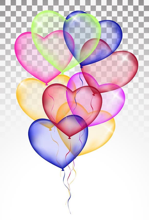 Barwioni serce balony Odizolowywający na białym tle przejrzystym royalty ilustracja