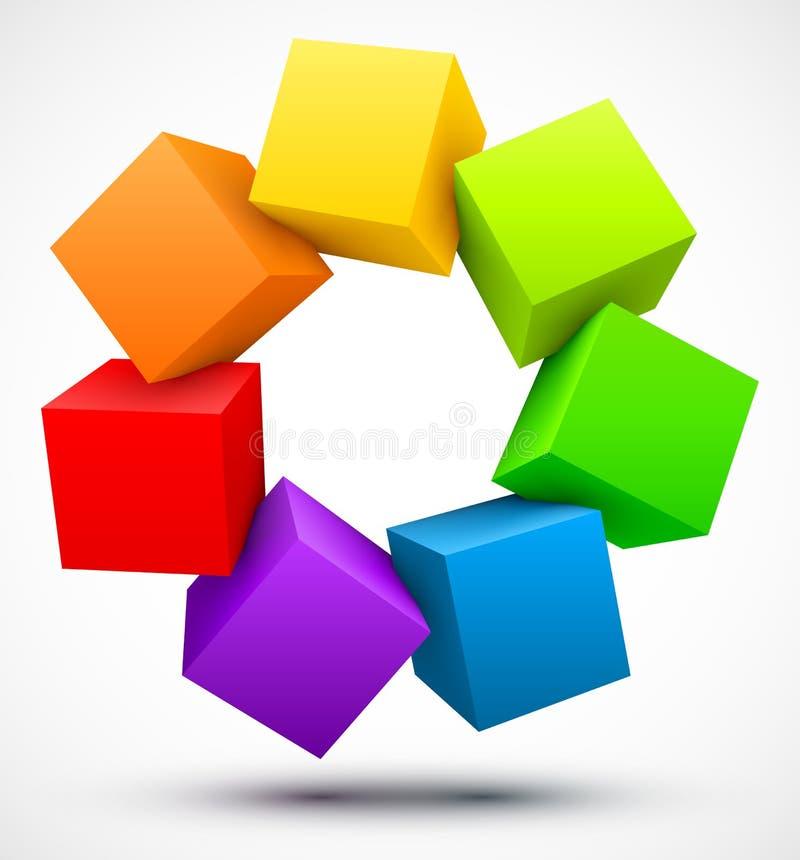Barwioni sześciany 3D ilustracja wektor
