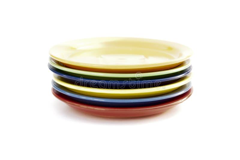 Barwioni talerze są odizolowywającym zdjęcie royalty free