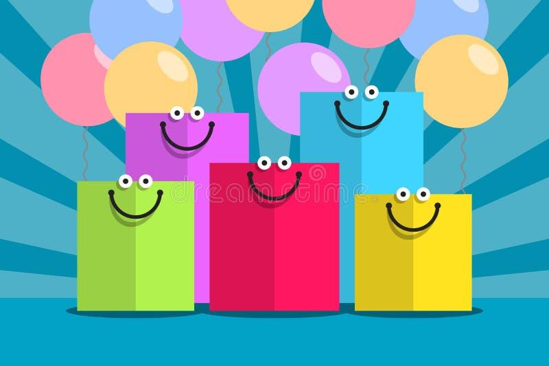 Barwioni torba na zakupy i uśmiechy ilustracji