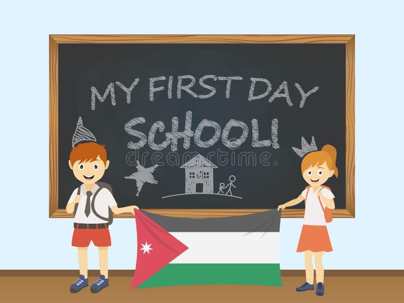 Barwioni uśmiechnięci dzieci chłopiec i dziewczyna trzyma krajową Jordania flaga za zarząd szkoły ilustracją, Wektorowy kreskówki royalty ilustracja