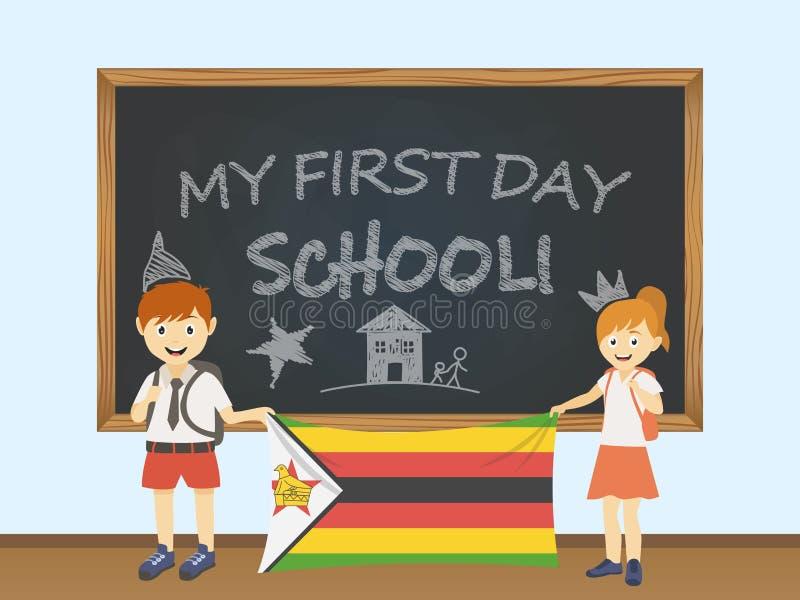 Barwioni uśmiechnięci dzieci chłopiec i dziewczyna trzyma krajową Zimbabwe flaga za zarząd szkoły ilustracją, Wektorowy kreskówki ilustracji