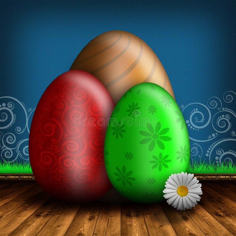 Barwioni Wielkanocni jajka na drewnianej podłoga ilustracja wektor