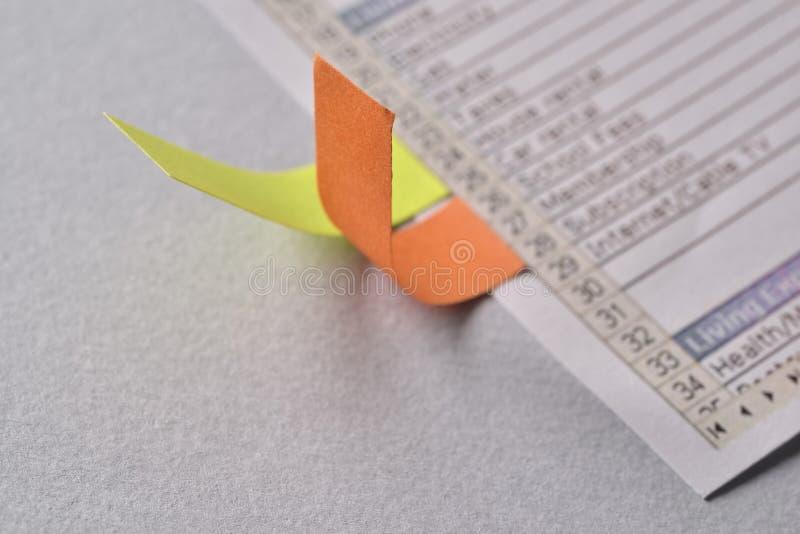 Barwioni znaki od domowego zapłata planu zdjęcie stock