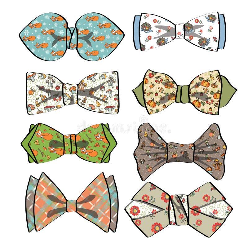 Barwiony łęku krawat z prostym wzorem moda retro ilustracji