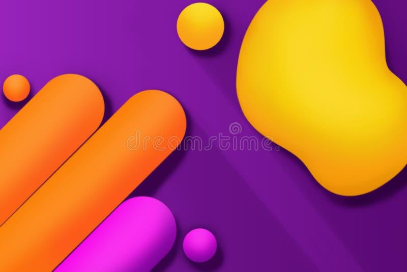 Barwiony adstract tworzy z 3D skutkiem na purpurowym tle ilustracji