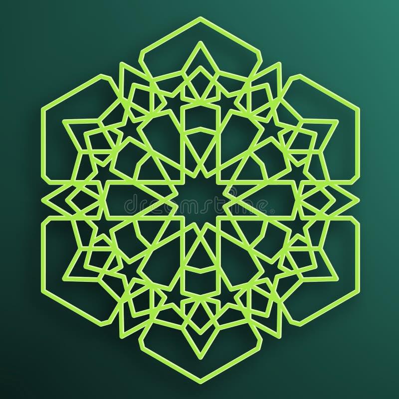 Barwiony Arabski ornament na ciemnym tle symetryczne wzoru Wschodnia Islamska heksagonalna rama Element dla dekorować meczet royalty ilustracja