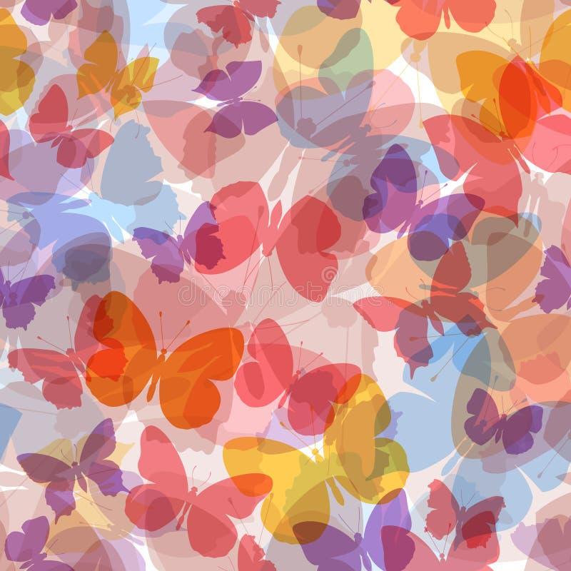 Barwiony bezszwowy deseniowy motyl ilustracja wektor