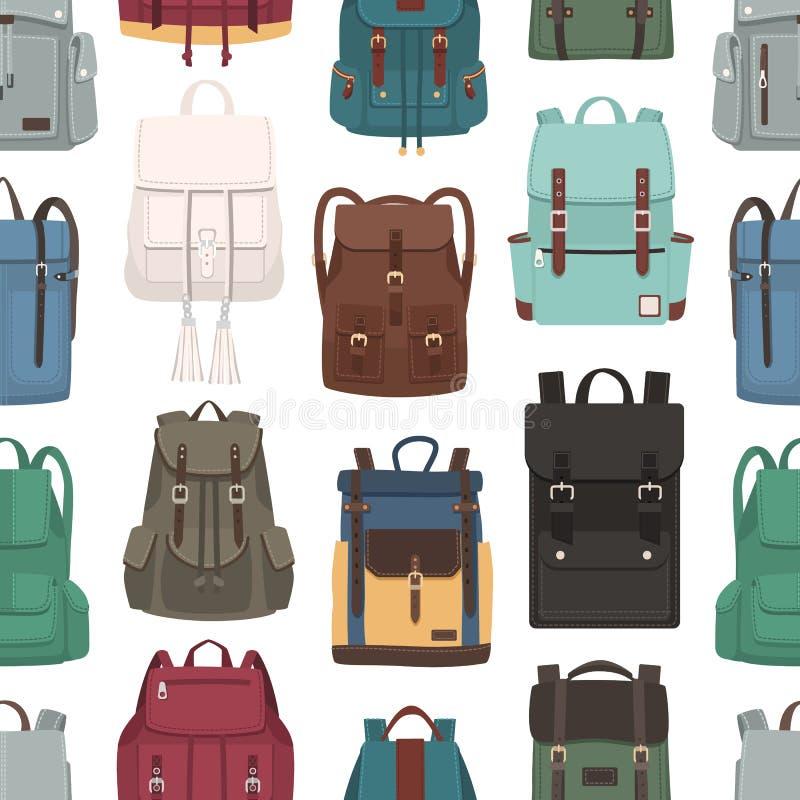 Barwiony bezszwowy wzór z modnymi plecakami lub plecakami różni modele Tło z eleganckimi torbami na bielu royalty ilustracja