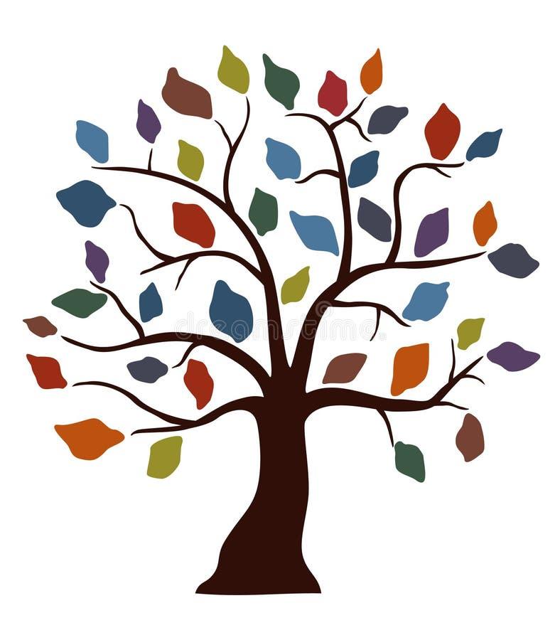 barwiony dekoracyjny drzewo royalty ilustracja