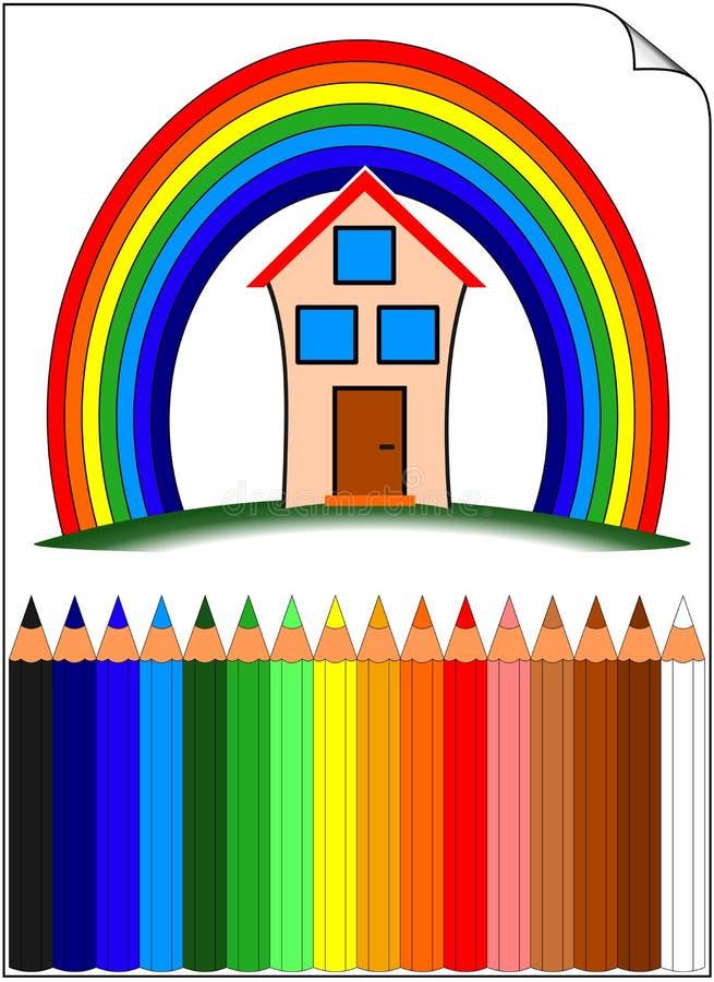 Barwiony Dom Nad Ołówków Tęczy Whit Obraz Stock
