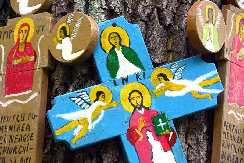 Barwiony drewno krzyż obraz royalty free