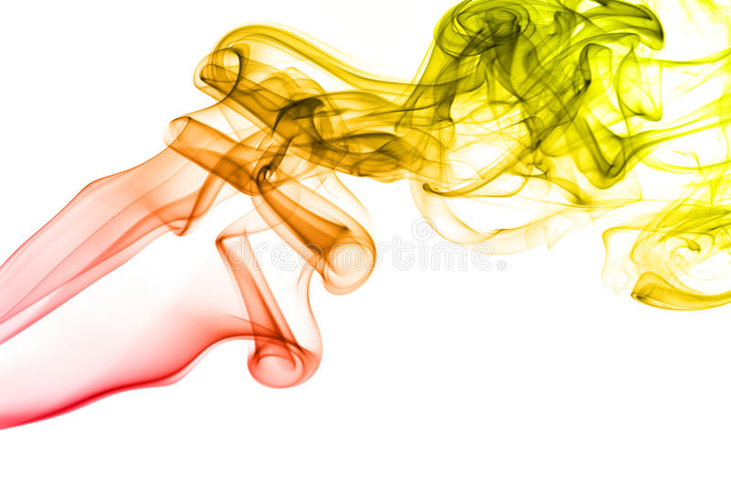 Barwiony dym odizolowywający na białym tle zdjęcia stock